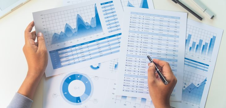 Person's hands reviewing charts and data