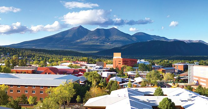 NAU campus with San Francisco Peaks in background